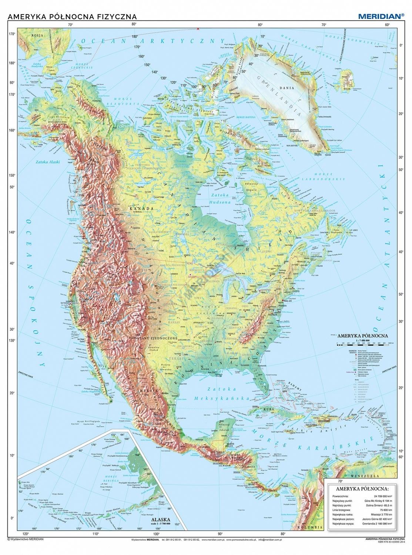 Ameryka Polnocna Scienna Mapa Fizyczna Pomocedydaktyczne Eu