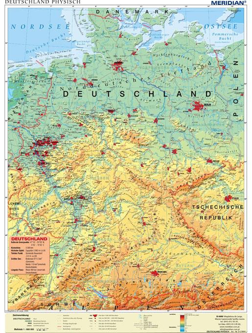 mapa deutschland physisch