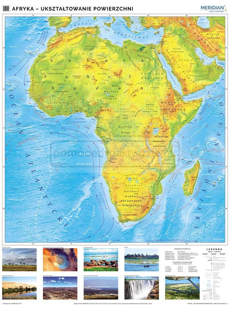 Afryka Mapa Fizyczna Uksztaltowanie Powierzchni Afryki Mapa